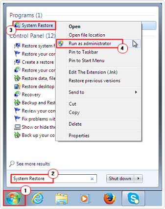 Select System Restore as Admin