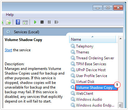 Double click on Volume Shadow Copy