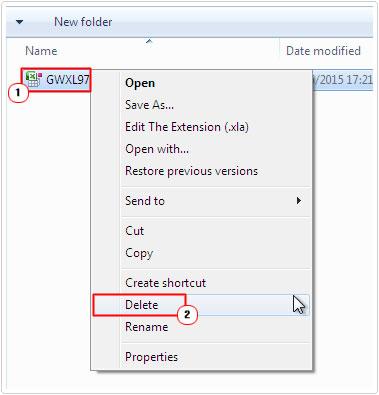 Remove GWXL97.XLA File