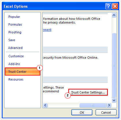 Click on Trust Center Settings Button