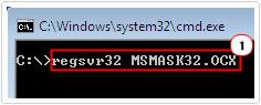 regsvr32 MSMASK32.OCX