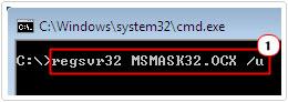 regsvr32 MSMASK32.OCX /u