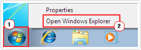 Start -> Open Windows Explorer