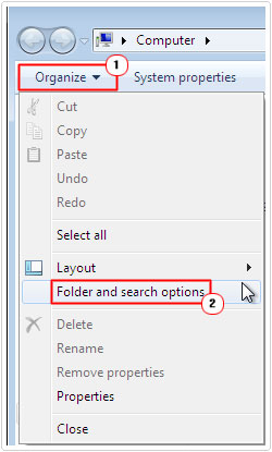 Organize -> Folder and search options