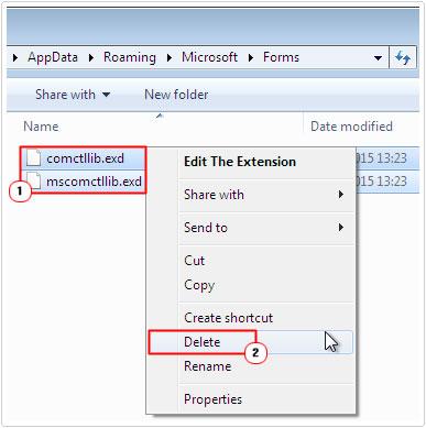 Delete comctllib.exd and mscomctllib.exd files