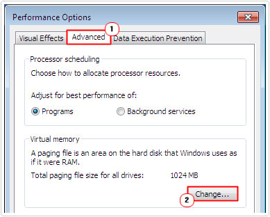 Change Virtual Memory Settings