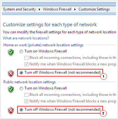 Turn off Windows Firewall for Computer