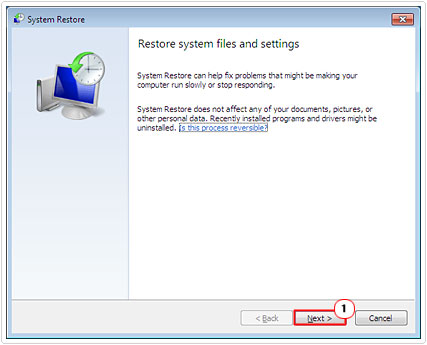 Click Next on System Restore