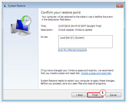 Click Finish on System Restore