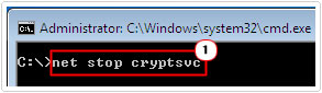 Put in net stop cryptsvc and press Enter