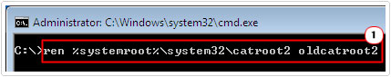 type ren %systemroot%\system32\catroot2 oldcatroot2