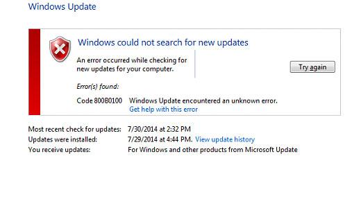 Error Code 800b0100