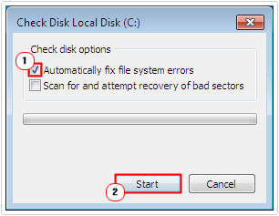 Check Automatically fix file system errors then Start