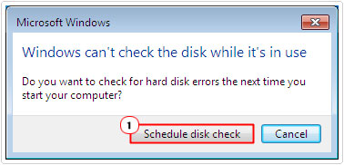 Click on Schedule disk check