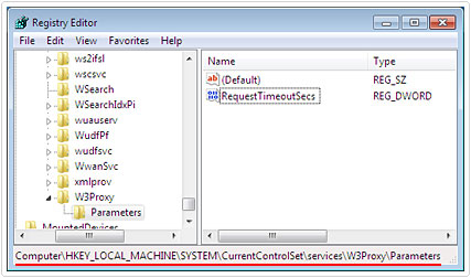 Go to HKEY_LOCAL_MACHINE\SYSTEM\CurrentControlSet\Services\W3Proxy\Parameters