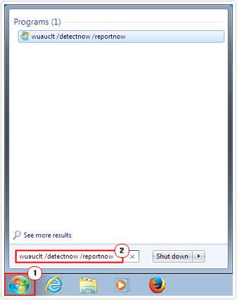 Start -> type wuauclt /detectnow /reportnow