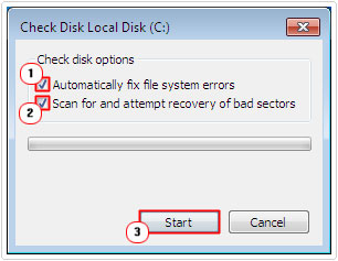 Select Options -> Start Check Disk