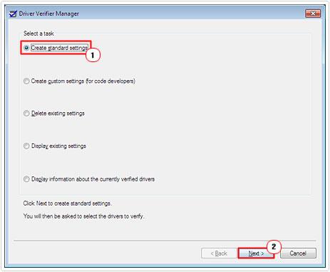 Select Create Standard Settings