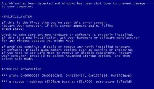 ntfs.sys blue screen on boot