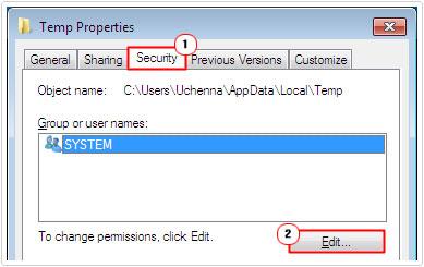 Temp -> Security Tab