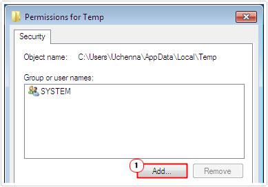 Permissions for Temp -> Add