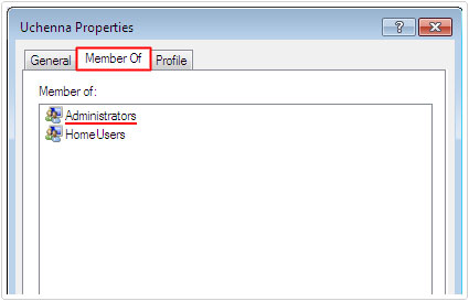 Profile Properties -> Member Of -> Verify Account