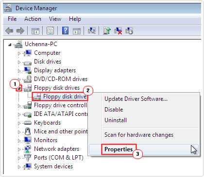 Device Manager -> Device -> Properties