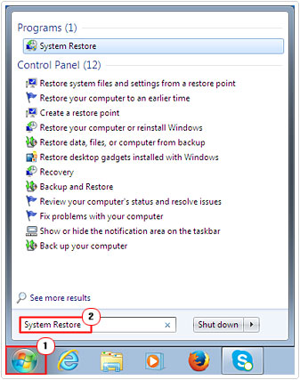 Start -> System Restore