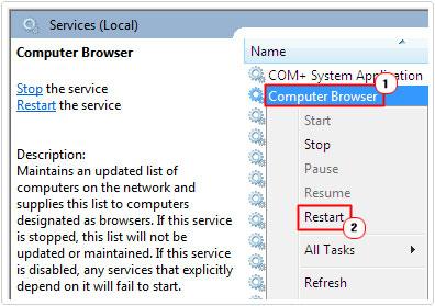 Computer Browser -> Restart