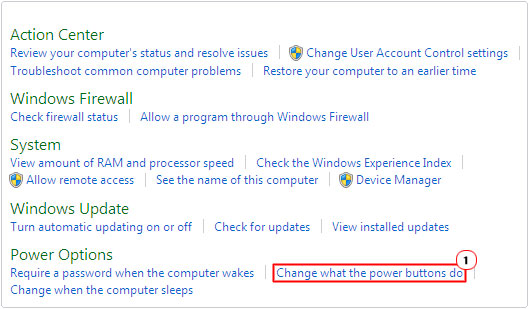 System and Security -> Change what the power buttons do