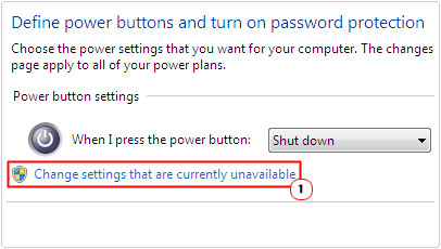Power Options -> Change settings that are currently unavailable
