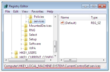 Registry -> HKEY_LOCAL_MACHINE\SYSTEM\CurrentControlSet\Services