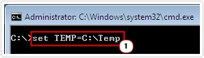 cmd -> set TMP=C:\Temp