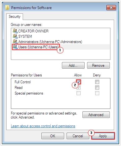 User -> Full Control