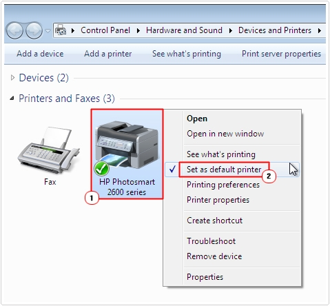 Printer -> Set as default printer