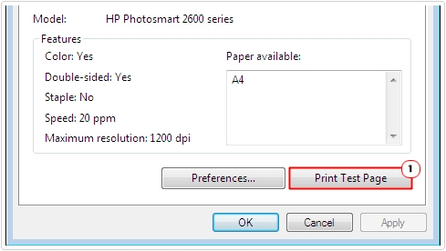 Printer Properties -> Print Test Page