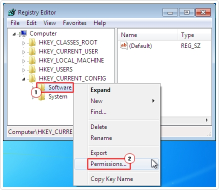 Registry Editor -> Software -> Permissions