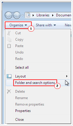Click on Folder and search options