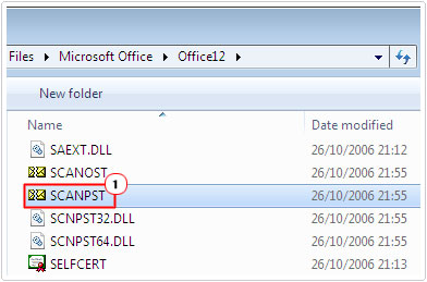 Office Folder -> SCANPST.EXE
