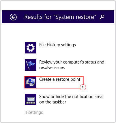 Search Results -> Create a restore point