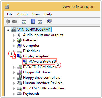 Device Manager -> Graphics Card Properties
