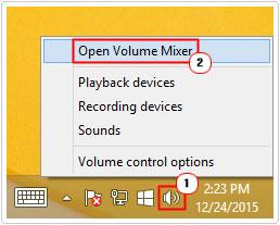 Speaker -> Open Volume Mixer