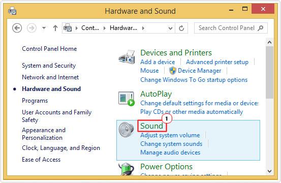 Hardware and Sound -> Sound