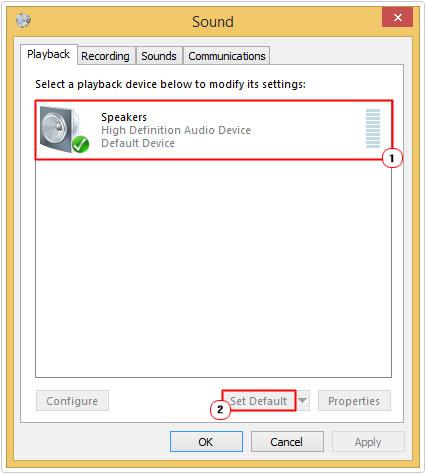 Speakers -> Set Default