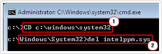 delete driver in c:\windows\system32