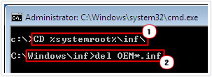 Del temp files in CD %systemroot%\inf\