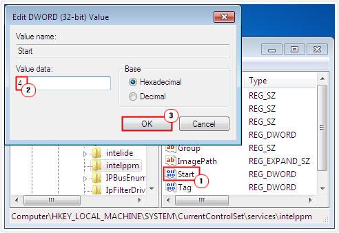 Intelppm Start DWORD -> 4