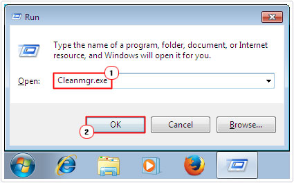 Run -> type Cleanmgr.exe