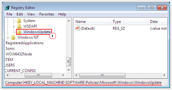 Registry path HKEY_LOCAL_MACHINE\Software\Policies\Microsoft\ Windows\WindowsUpdate