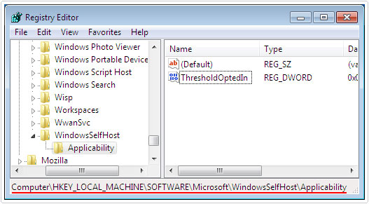 Visit registry path HKEY_LOCAL_MACHINE\SOFTWARE\Microsoft\WindowsSelfHost\Applicability